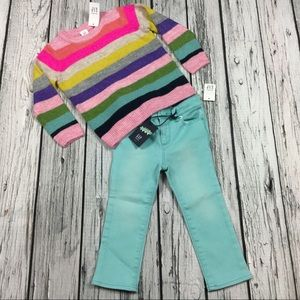 Gap Girls 2T Striped Sweater & Skinny Jeans Outfit